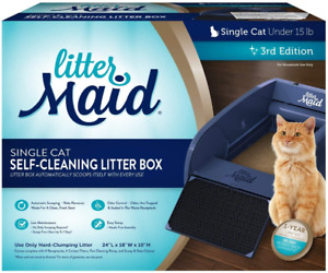 Single Cat Self Cleaning Litter Box Low Maintenance Automatic Scooping Blue