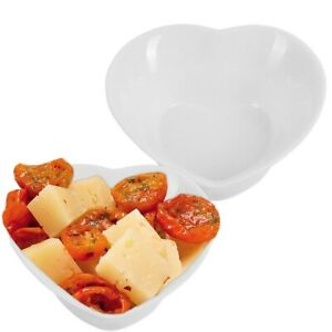2x HEART SHAPE WHITE SERVING BOWLS Mini Appetisers Dinner Party BBQ Tableware