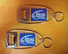Bud Light Iconic Football Key Ring Bottle Opener - Set of TWO (2) - NEW & F/Ship