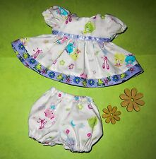 "Handmade Doll Clothes for 12"" - 14"" Baby Dolls - ""Love Dancing"" Bears Dress Set"