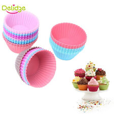 Round Muffin Cupcake Mold Colorful Silicone Muffin Cake  Liner Baking Mold