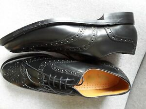 CLARKS K *KEIGHLEY ll* MENS  ALL LEATHER BLACK BROGUES UK 11 NEW MADE IN ENGLAND