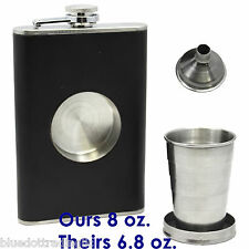 Stainless Steel Leather Portable Flagon Liquor Hip Flask Hip Flask 8 oz w/Funnel