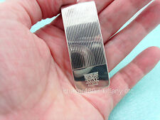 Tiffany & Co Vintage Engraved Irises Engine-Turned Grooved Money Clip Xtra Rare
