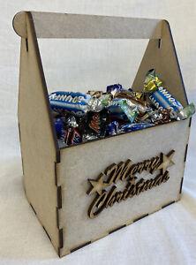 BI11 Merry Christmas Treat Gift Box. Laser Cut MDF. Craft Tool box. Deco patch