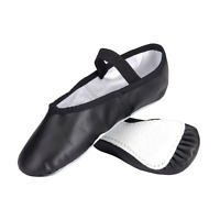 Black Leather Ballet Shoes (Full Sole)