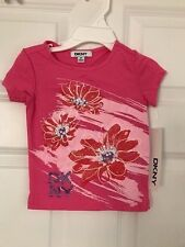 DKNY NWT Girls Tee Top Shirt T-Shirt Logo PInk Purple Glitter Bling Flower 2 2T