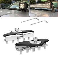 2X S.S Car Clamp Holder Work Light Universal  Hood LED bar Mount Bracket Offroad