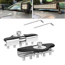2X S.S Car Clamp Holder Work Light Universal  Hood LED bar Mount Bracket Offroad