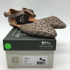 Spring Step Womens Junita Ballet Flats Shoes Taupe Leather Ankle Strap 7.5 New