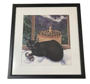Longaberger Print-Sarah Metzwood Signed & Framed Halloween Black Cat Witch RARE