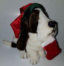 Dan Dee Christmas Puppy Dog Plush Stuffed Animal Toy Stocking Santa Hat Brown