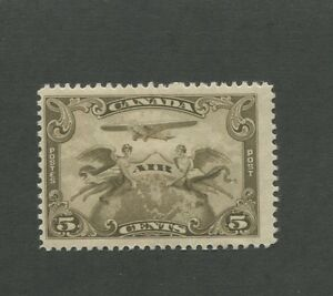 Allegory of Flight Air mail 1928 Canada 5c Brown Olive Stamp #C1 Scott