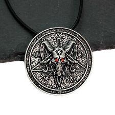 Antique Silver Baphomet Goat's Head Pentacle Pendant Necklace