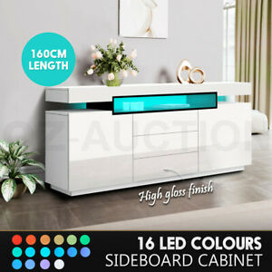 Buffet Sideboard Cabinet LED High Gloss Storage Cupboard 2 Doors 3 Drawers White