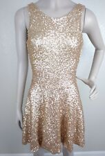 TFNC London Women's Gold Sequin Sleeveless Backless Mini Party Dress Size XS