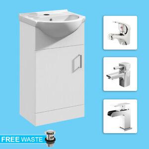 White 450mm Soft Close Bathroom Vanity Unit Storage Cabinet Basin Sink One Door