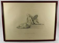 "Antique Steel Engraving by Paul De La Roche ""The Spirit Enchained"" London Virtue"