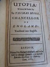 Antik Buch 1685 Thomas, mehr, Sir: Utopia. London, Printed by Richard chitwell