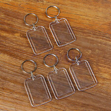 5 Transparent Blank Acrylic Photo Picture Frame Keyring Keychain DIY Key Ring EW