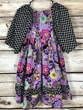 Dilly Dally Boutique Girls Size 14 Dress Purple Teal Black White Floral