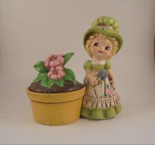 Josef Originals Gardening Girl Green Dress Flower Pot Figurine Collectible