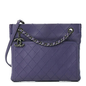 CHANEL Calfskin Wild Stitch CC Shopping Tote Purple Shoulder Bag Cross Body