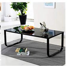 Modern Glass Coffee Table Black Rainbow Side Table Black Metal Legs Living Room