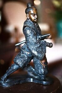 "Antique Japanese hot cast bronze statue figurine of Samurai Warrior 12"" high"