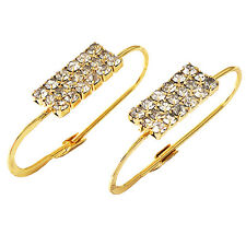gorgeous 30mm Gold plated clear crystal womens Oval earings hoop earrings new