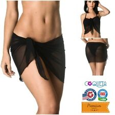 Coqueta Pareo Mini Cover up Mesh Swimwear Wrap Sarong Canga Swimsuit Black Beach