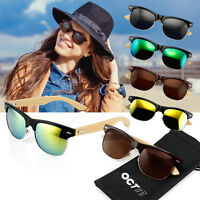 Retro Classic Vintage Men Women Bamboo Wood Frame Sunglasses Glasses Eyewear Len
