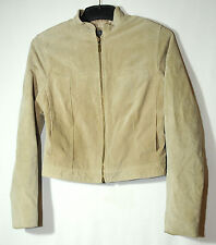 BEIGE LADIES CASUAL LEATHER SUEDE BIKERS JACKET SIZE 10 AMARANTO
