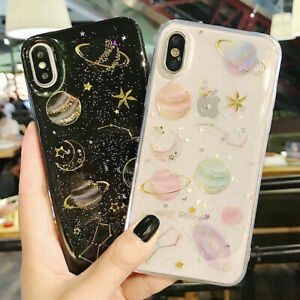 Phone Case For iPhone 11 XR 7 8 Plus Shockproof Cute Planet Moon Star Case Cover