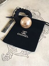 Authentic CHANEL HAIR TIE, Ponytail Holder ELASTIC SCRUNCHIE Classic BEIGE