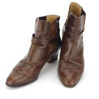 Salvatore Ferragamo short boots Ganchini leather Auth used T16925