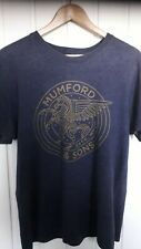 Vintage Mumford And Sons Blue T Shirt with Gold Print Mens Size L by Salvage