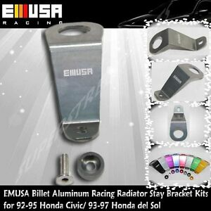 EMUSA Billet Aluminum RacingRadiator Stay BracketKit fit 92-95 Honda Civic GREY