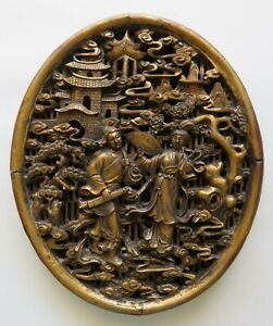 Antique Chinese Carved Gold Gilded Wood Panel