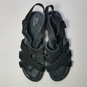 Spring Step Sandals 9M Women's Black Suede Strappy Edelweiss Shock Absorber