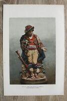 Kunst Druck 2 Blatt 1900/01 Pifferaro + Grabfigur nach Cuno von Uechtritz Statue