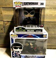 CATWOMAN DELUXE Funko Pop DC Heroes #269 Gamestop Exclusive + Carol Danvers New
