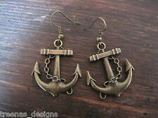 *LARGE BRONZE ANCHOR* Earrings ROCKABILLY SAILOR JERRY NAUTICAL TATTOO GIFT