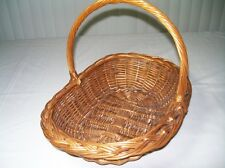 Vintage Arts & Crafts Wicker Rattan Willow Basket Woven Brim Twisted Handle