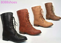 Women's Simple Causal Zipper Low Heel Mid Calf Boot Shoes NEW All Size 4 Colors