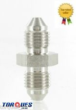 """AN -3 (3AN) Male to Male Union 3/8"""" x 24 UNF Stainless Steel Adapter"""