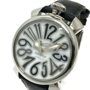 GAGA MILANO 5020.4 Shell dial Manure 40MM Quartz Wristwatch Black x Silver