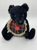 Vtg Hermann Teddy Bear Musical Lullaby Black Mohair Red Plaid Bib Rubin Jesco