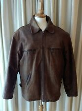 AKASO size XXL mens vintage mid-brown leather flying jacket