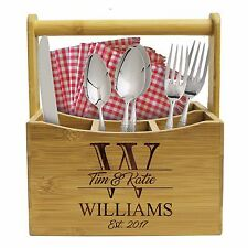 Personalized Engraved Utensil Caddy- Patio, Housewarming, Wedding, Kitchen Gift